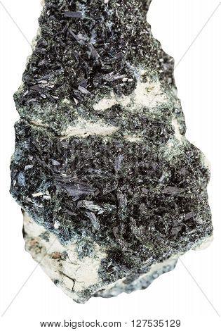 Black Green Crystals Of Hornblende On Amphibole