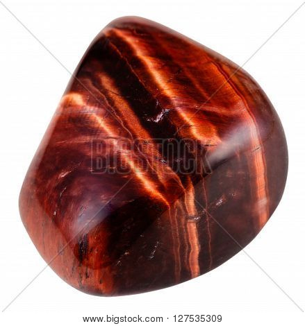 Tumbled Red Bull-eye Gemstone Isolated