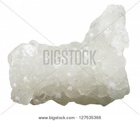 Raw Prehnite Mineral With White Okenite Crystals