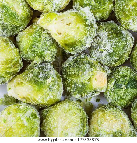 Many Frozen Brussels Sprouts