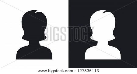 Female user icon vector. Two-tone version on black and white background