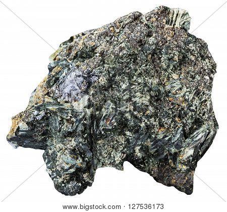 Gray Crystal Of Molybdenite On Amphibole Rock