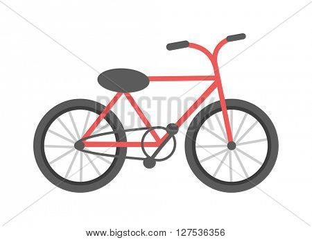 Red bicycle isolated vector illustration.