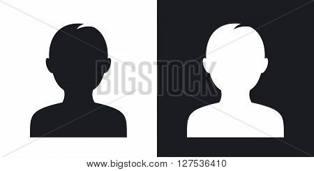 Male user icon vector. Two-tone version on black and white background