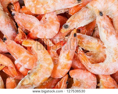 Many Frozen Boiled Red Shrimps Close Up