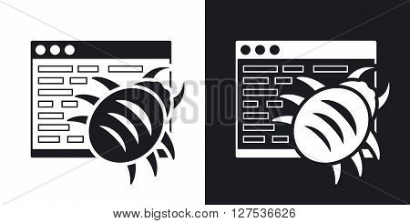 Vector malware icon. Two-tone version on black and white background