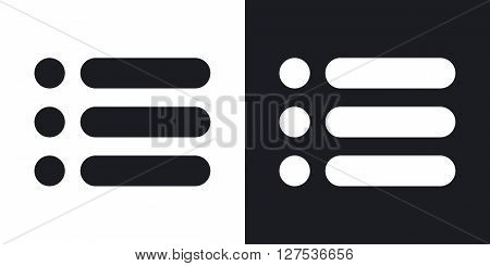 Vector web site menu icon. Two-tone version on black and white background