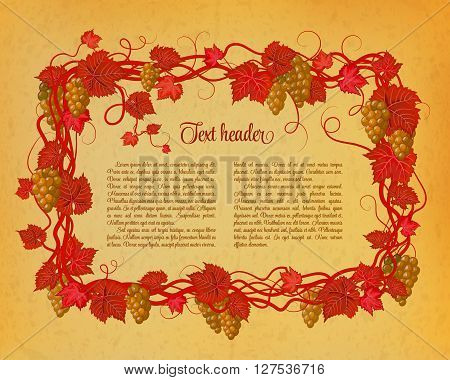 Background for your text with oldest paper and vines in vintage style. Vinous green brunch of grapes pattern on brown background.