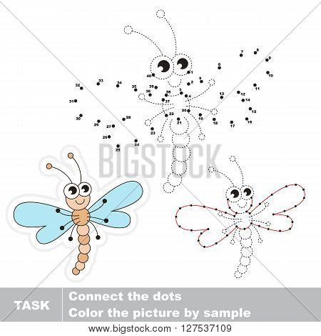Dragonfly in vector to be traced by numbers. Vector visual game for children.