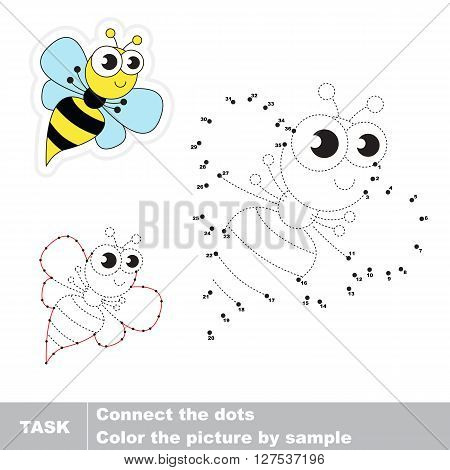 Wasp in vector to be traced by numbers. Vector visual game for children.