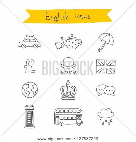 Set of British icons. Vector illustration on white background. Learning foreign languages.