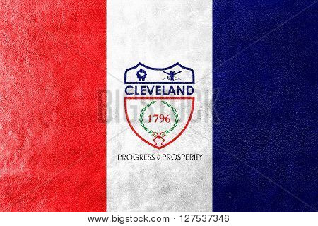 Flag Of Cleveland, Ohio, Painted On Leather Texture
