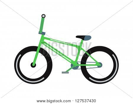 Green bicycle isolated vector illustration.