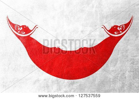 Flag Of Easter Island, Painted On Leather Texture