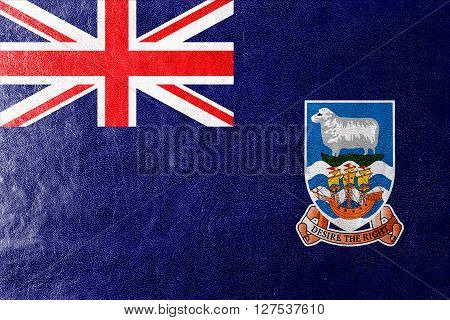 Flag Of Falkland Islands, Painted On Leather Texture