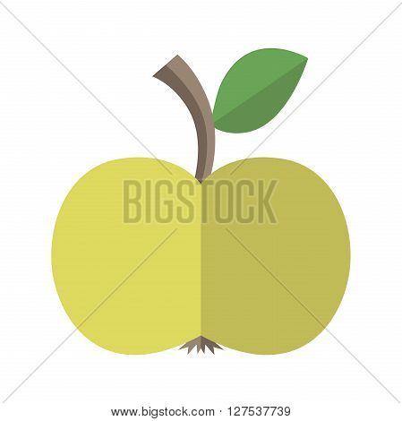 Green delicious ripe apple with leaf isolated on white. Flat style. Healthy natural food diet fruit vitamin juice and season concept. EPS 8 vector illustration no transparency