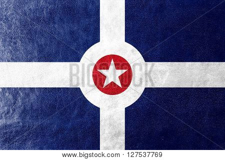 Flag Of Indianapolis, Indiana, Painted On Leather Texture