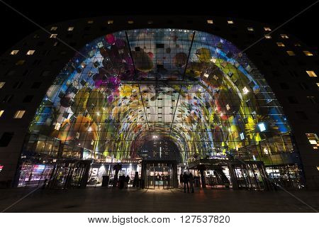 Rotterdam, The Netherlands - February 29, 2016: Markthal - Marketplace - in Rotterdam city.