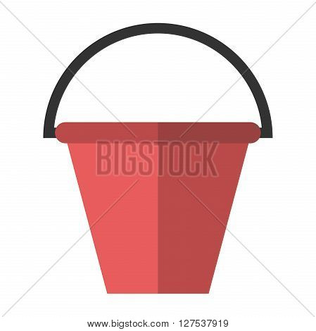 Red plastic bucket with black handle isolated on white. Flat style illustration. Housework gardening watering garbage and work concept. EPS 8 vector illustration no transparency