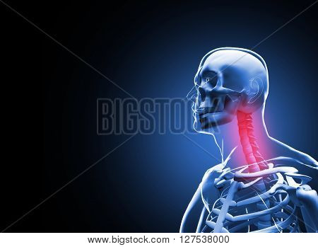 Painful neck Vertebrae Pain Anatomy concept. 3D illustration