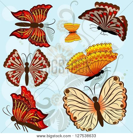 Set of autumn colored butterflies isolated on blue background.