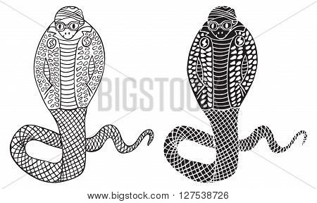 illustration on white background fashionable Cobra snake in a suit