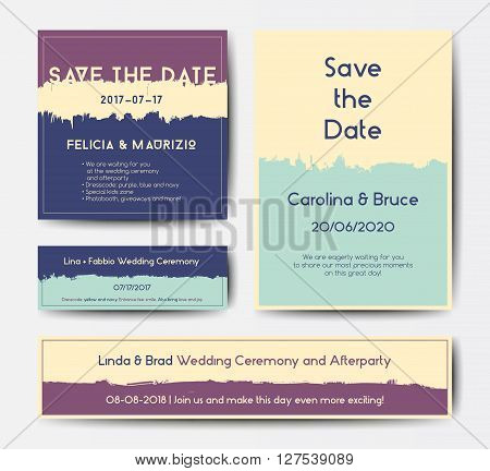 Modern grunge brush design templates, wedding invitation, banner, art vector cards design in soft colors