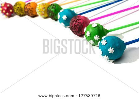 Mini delicious cake - cakepops on isolated background