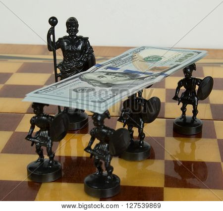 The Russian ruble and United States dollar on the chess Board with carved figures