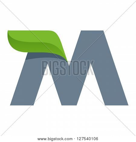 M Letter Logo With Green Leaf.