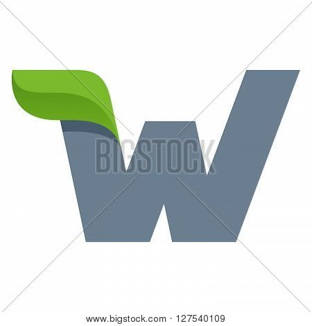 W Letter Logo With Green Leaf.