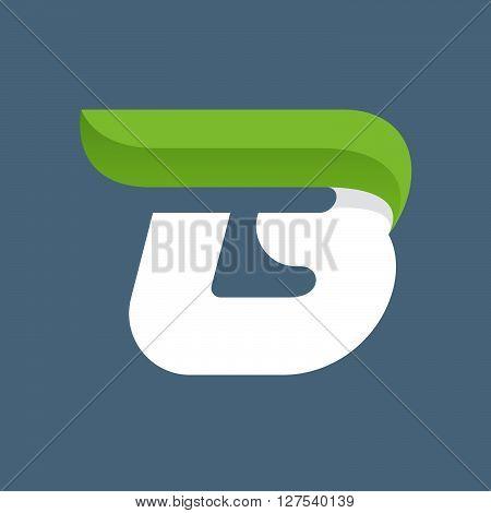 B Letter Logo With Green Leaf.