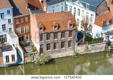 Aerial panoramic cityscape view of Ghent, Belgium with canal, traditional medieval houses