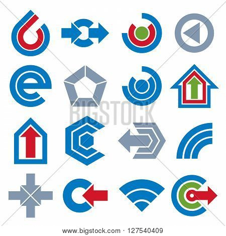 Vector Simple Navigation Pictograms Collection. Set Of Blue Corporate Abstract Design Elements. Arro