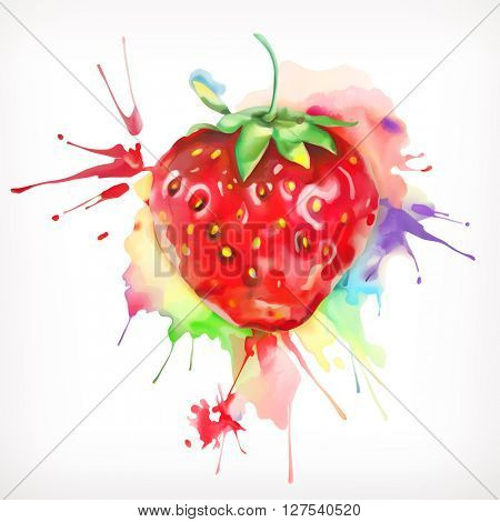 Watercolor painting, ripe strawberries, sweet and juicy, vector illustration, isolated on a white background