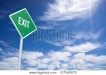 Green Road Sign With Exit Sign Inside On Blue Sky Background