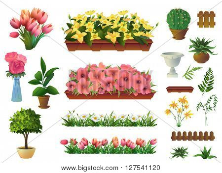 Plants and flowers, set of vector elements
