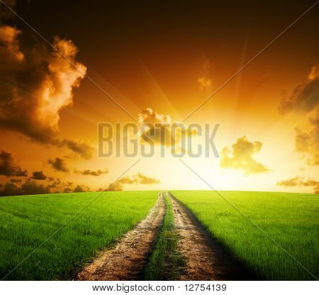 ground road and sunset