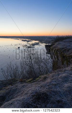 Sunrise over Tallinn city view from Rannamoisa cliff
