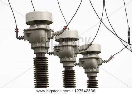 Power substation detail high voltage isolation isolated on white