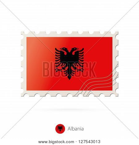 Postage Stamp With The Image Of Albania Flag.