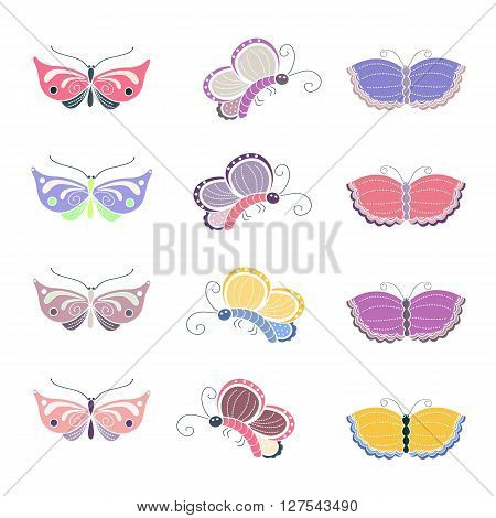Butterfly vector set. Sweet and tenderness symbols. Butterfly design