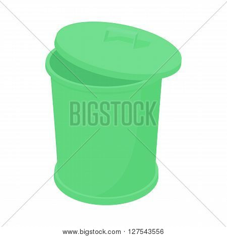 Green trash can icon in cartoon style on a white background