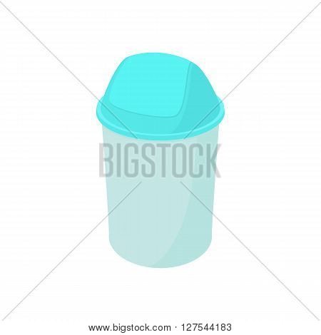 Trash plastic can with lid icon in cartoon style on a white background