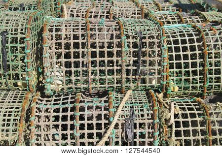 Group of old crab and lobster fishing traps
