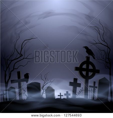 Night cemetery. Headstones and crosses. Clouds and fog.