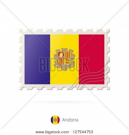 Postage Stamp With The Image Of Andorra Flag.