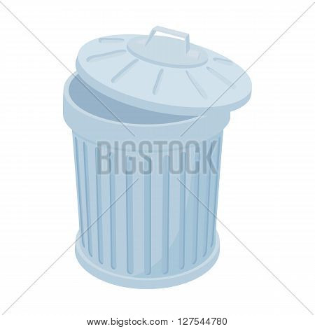 Grey trash can icon in cartoon style on a white background