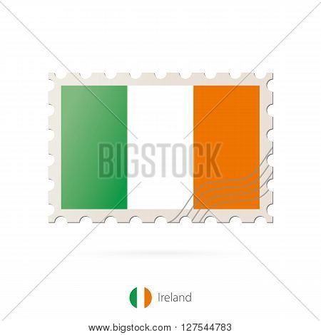 Postage Stamp With The Image Of Ireland Flag.