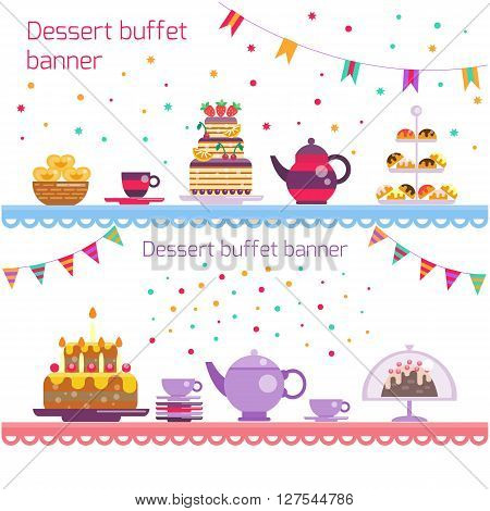 Birthday party banner. Dessert buffet banner. Cake and tea, sweets and dessert, teapot and cups on the 